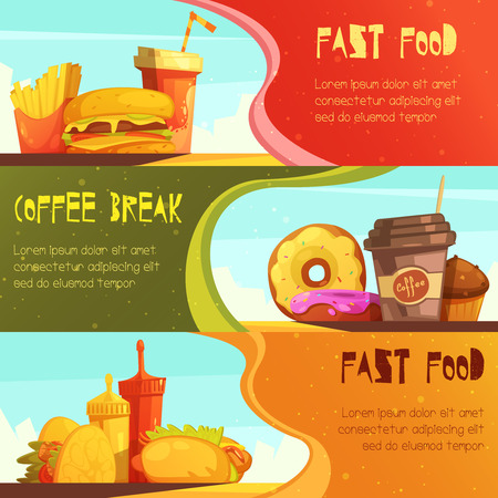 break fast: Fast food restaurant advertisement horizontal banners set with coffee break meal offer isolated retro cartoon vector illustration