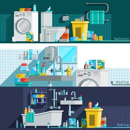 productos de aseo: higiene iconos banderas horizontales planas con baño artículos de higiene personal inter máquina lavadora de ropa ejemplo de la cesta de vector Vectores
