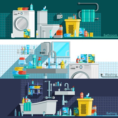 toiletry: Hygiene icons flat horizontal banners with bathroom interior toiletries washing machine laundry basket vector illustration Illustration