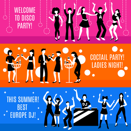 Disco party horizontal banners set with cocktail party and dj symbols flat isolated vector illustration