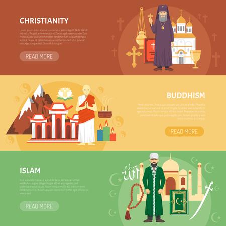 cristianismo: banderas planas horizontales de color sobre la religión confesión cristianismo Budismo Islam ilustración vectorial