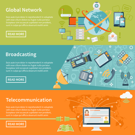 telecommunication: Telecommunication horizontal banners with information about global network elements broadcasting equipment and cloud worldwide technology flat vector illustration