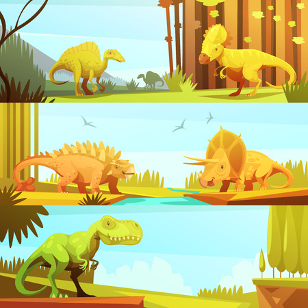 Dinosaurs in prehistoric environment 3 horizontal banners set in retro cartoon style abstract isolated vector illustration Illustration