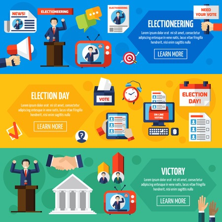 electioneering: Elections and voting horizontal banners set demonstrated publicity and responsibility political candidates and voting openness flat vector illustration Illustration