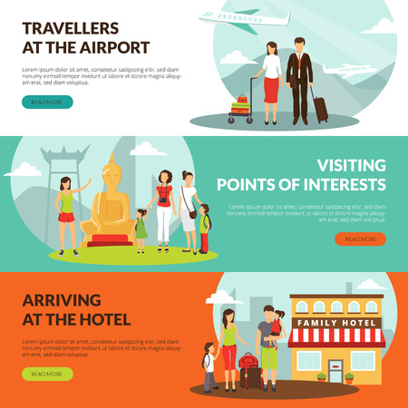 excursion: Travelers at airport in hotel and sightseeing excursion horizontal banners set for tourists webpage design vector illustration Illustration