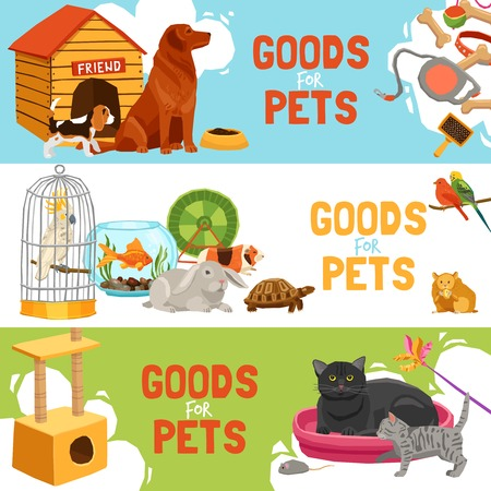 rabbit cage: Home pets three horizontal banners with parrot in cage turtle rabbit dog and cat icons and description goods for pets vector illustration