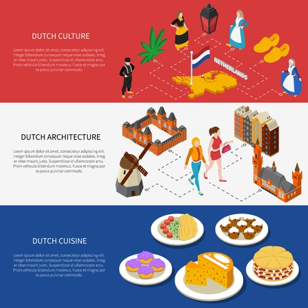 national: Color isometric horizontal banners depicting netherlands landmarks culture architecture cuisine vector illustration