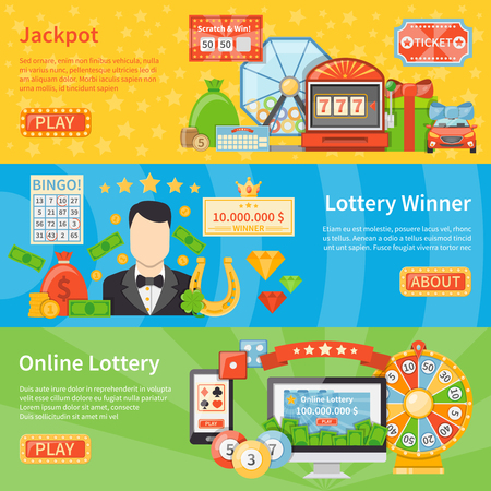 scratch card: Lottery and jackpot flat horizontal banners with horseshoe scratch card lottery machine money bag decorative icons vector illustration