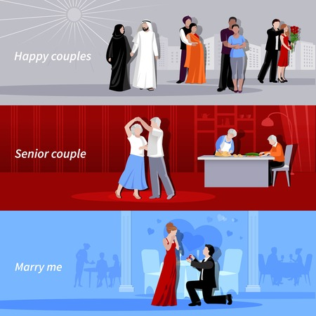 nationalities: Horizontal happy couples people of different age and nationalities indoor and outdoor flat isolated banners vector illustration Illustration