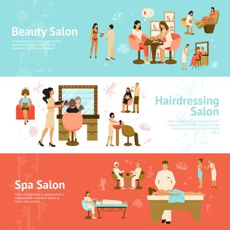 masajes relajacion: Tres banderas horizontales con los clientes que reciben servicios de peluquería de la belleza y del balneario salones ilustración vectorial plana