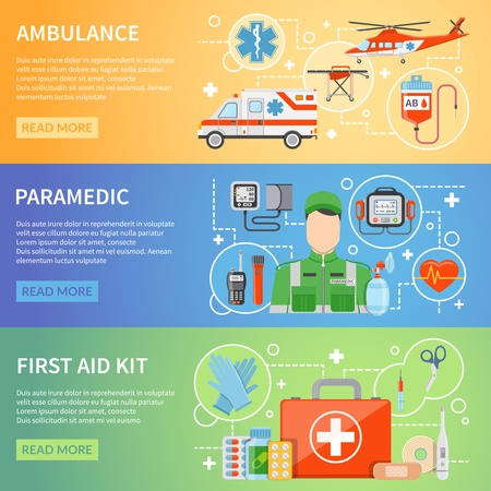 medicine chest: Paramedic horizontal banners with medicine chest ambulance air and car transport and medical assistant figure flat vector illustration