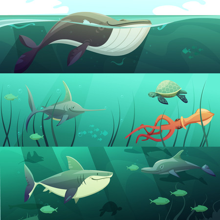 calamar: Submarinas banners horizontales retro de dibujos animados la vida marina se establece con la ilustración vectorial de tiburón gigante de las tortugas de delfines peces aislados