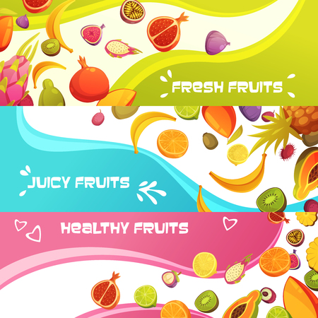 appetizing: Healthy fresh fruits 3 colorful appetizing horizontal banners set with orange banana and pineapple abstract isolated vector illustration Illustration