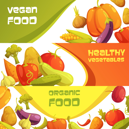 food market: Healthy organic vegan food advertisement horizontal banners set with ripe farmers market vegetables isolated cartoon vector illustration Illustration