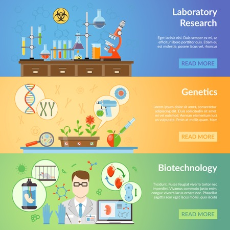 biotech: Biotechnology and genetics horizontal banners set with elements of biomaterials and laboratory equipment for realization of scientific experiments flat vector illustration