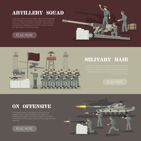 commander: Military army force base with artillery squad webpage design 3 flat horizontal banners set isolated vector illustration