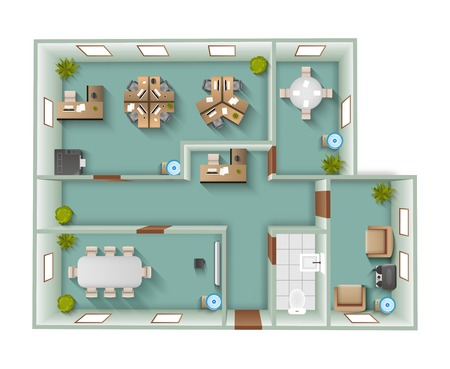 Office interior project top view plan with reception and working space vector illustration Stock Illustratie