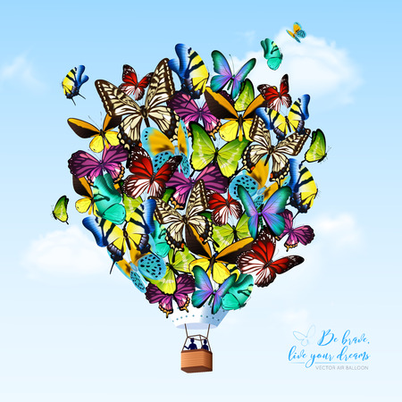 Big fantastic colorful hot air butterfly balloon on clear sky with small clouds background flat vector illustration