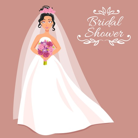 bride bouquet: Bridal shower cartoon invitation with beautiful young bride in white dress and veil on rose background holding bouquet of roses  vector illustration
