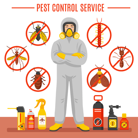 Pest control service vector illustration with exterminator of insects in chemical protective suit termites and disinfection cans flat icons Illustration