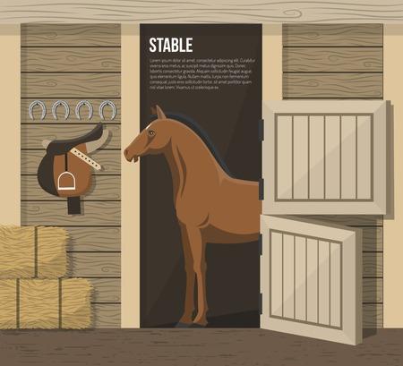 Ferme d'élevage de chevaux intérieur stable avec debout dans les animaux de décrochage et le fourrage de foin d'alimentation abstract vector illustration Vecteurs