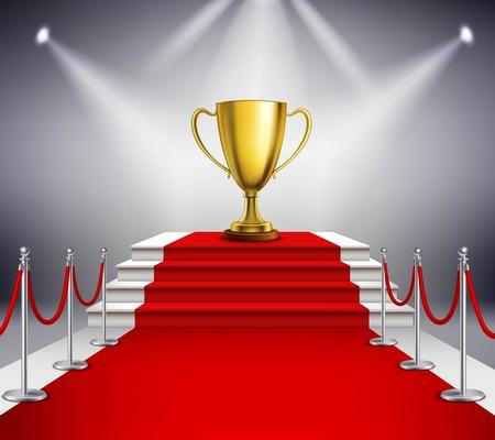 Trofeo de oro en las escaleras blancas cubiertas con la alfombra roja e iluminada por reflectores ilustración realista Foto de archivo - 61084480