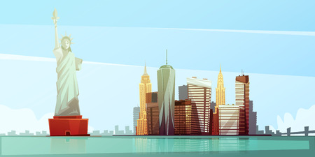 New york skyline design concept with statue of liberty empire state building chrysler building freedom tower flat vector illustration Illustration