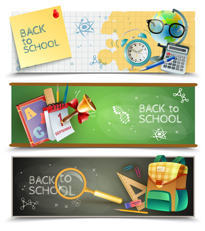 blackboard background: Back to school 3 horizontal banners set with chalkboards textbooks and sport lessons accessories isolated vector illustration