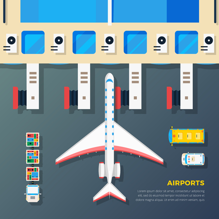 airfield: Airport apron planes airfield area with aircraft at jet bridge and ground srvice top view abstract vector illustration