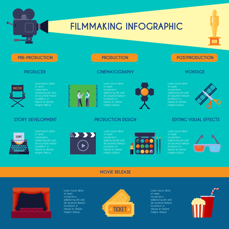 film title: Filmmaking ibfographic flat retro style poster with movie making and watching classic symbols blue background vector illustration Illustration