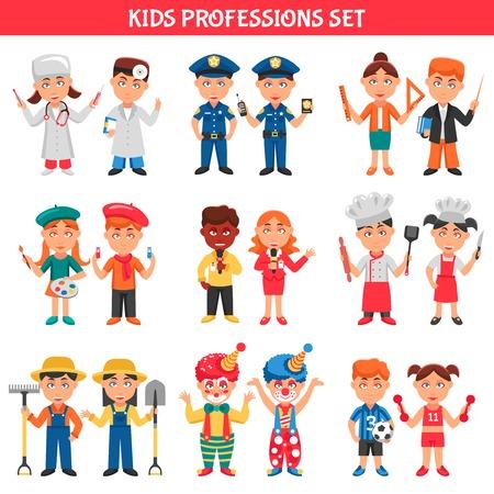 profesiones: iconos de la gente de dibujos animados conjunto profesiones para los niños con payasos ilustración policía médico maestro futbolista artista cocinero del vector plana