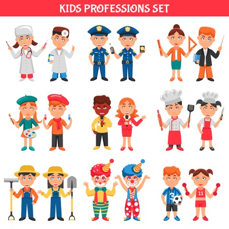 profession: People professions cartoon icons set for kids with clowns policeman doctor teacher footballer artist chef flat vector illustration