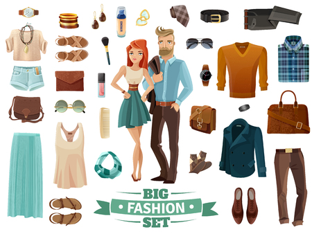 Big male and female fashion clothing shoes cosmetics and accessories set with young man and woman in middle on white background cartoon isolated vector illustration 矢量图像