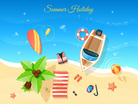 Beach and summer holiday  top view with boat flat vector illustration Illustration