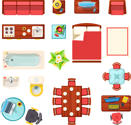 Home furniture top view set with bath table and bed flat isolated vector illustration