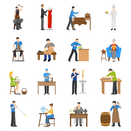 craftsmen: Flat design craftsmen icons with people having various professions isolated on white background vector illustration Illustration