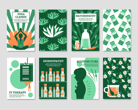 yoga to cure health: Alternative medicine cards set for yoga studio shop pharmacy relax or spa center flat vector illustration
