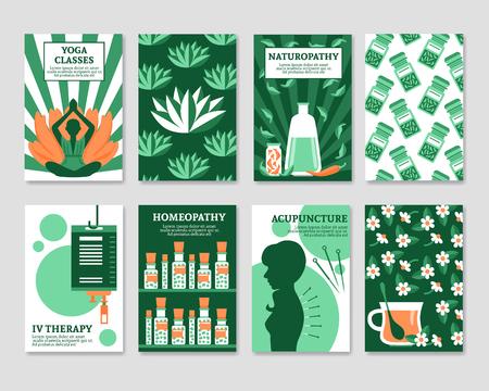 alternative medicine: Alternative medicine cards set for yoga studio shop pharmacy relax or spa center flat vector illustration