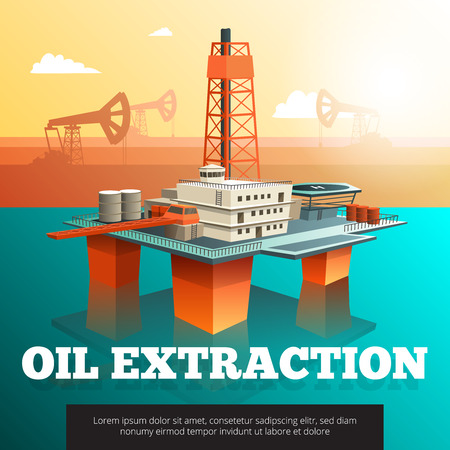 platform: Offshore platform oil rig to drill wells extract and process oil and natural gas isometric vector illustration Illustration