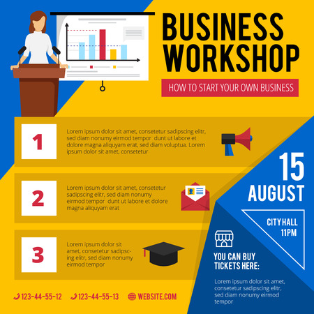 concise: Business beginners training workshop announcement with concise program date and time flat colorful poster abstract vector illustration