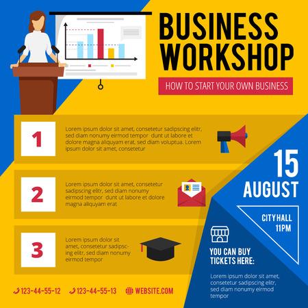 Zakelijke beginners training workshop aankondiging met beknopte datum programma en van tijd plat kleurrijke poster abstract vector illustratie