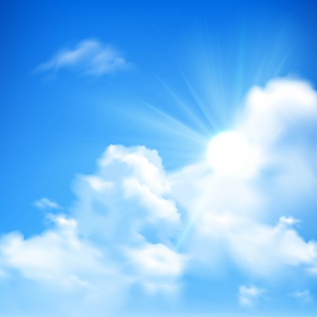 clearing: Bright sunbeams coming out of heap clouds in blue sky background cartoon vector illustration