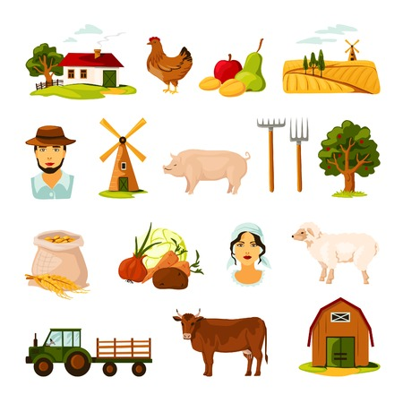 farmhouse: Flat farm set with farmers cattle harvest farmhouse and equipment on white background isolated vector illustration Illustration