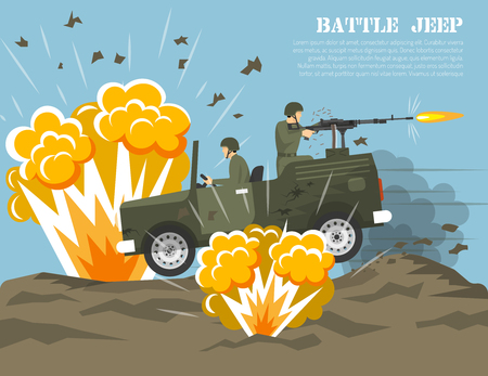 Legendary us army four-wheel drive jeep in battle environment flat military poster print abstract vector illustration Illustration