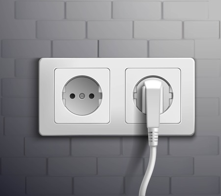 plugged: Realistic white plastic panel with socket and single round and double rectangular switches on grey wall vector illustration