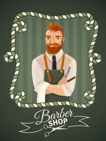 cartoon hairdresser: Barbershop poster template with hipster male hairdresser in frame cartoon vector illustration Illustration