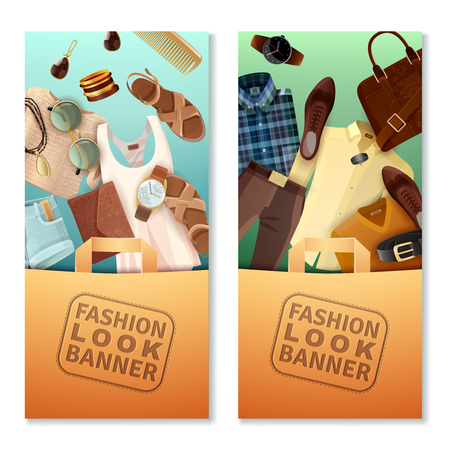 male female: Vertical fashion look banners with shopping bags male and female clothing and accessories isolated on white background flat vector illustration