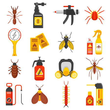 flapper: iconos planos de control de plagas establecidos con la señal de mosquitos repelente de hormigas vuelan las cucarachas y la ilustración vectorial aislado insecticida Vectores