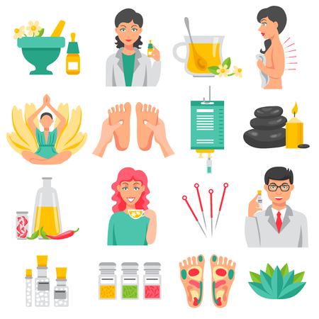 Alternatieve geneeswijzen set van voetmassage lotusbloem naalden voor acupunctuur aroma therapie geïsoleerde pictogrammen plat vector illustratie