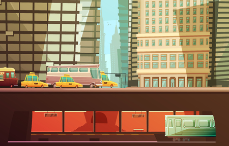 municipal: New york city design concept with skyscrapers and urban transport so as yellow cabs municipal transportation subway flat vector illustration Illustration